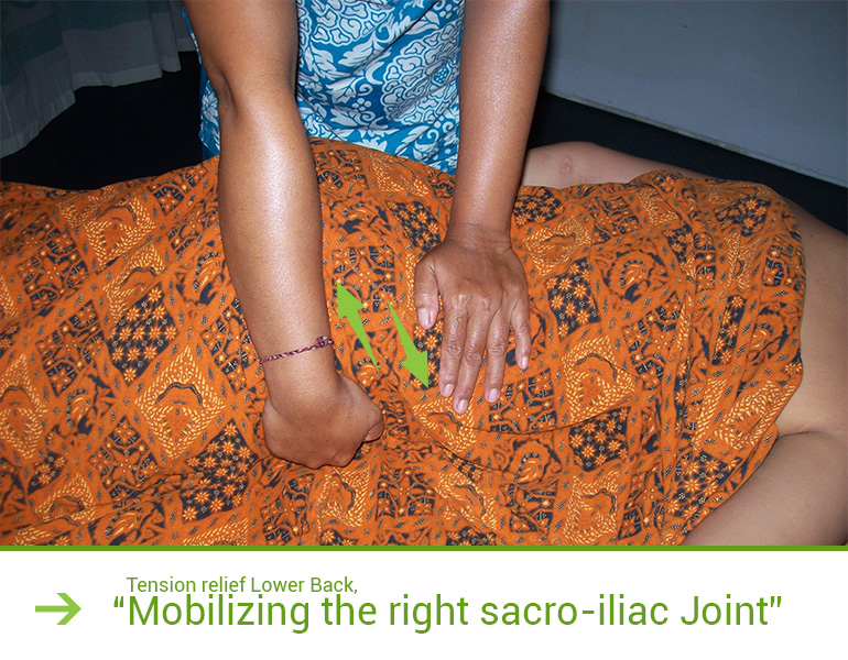 Tension relief Lower Back, Mobilizing the right sacro-iliac Joint